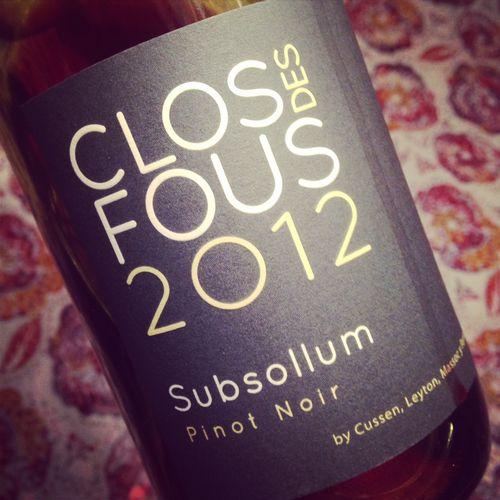Clos des fous subsollum pinot noir 2012 dans mon verre for La fenetre a cote pinot noir 2012
