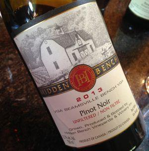 Hidden Bench Pinot Noir Estate Beamsville Bench 2013